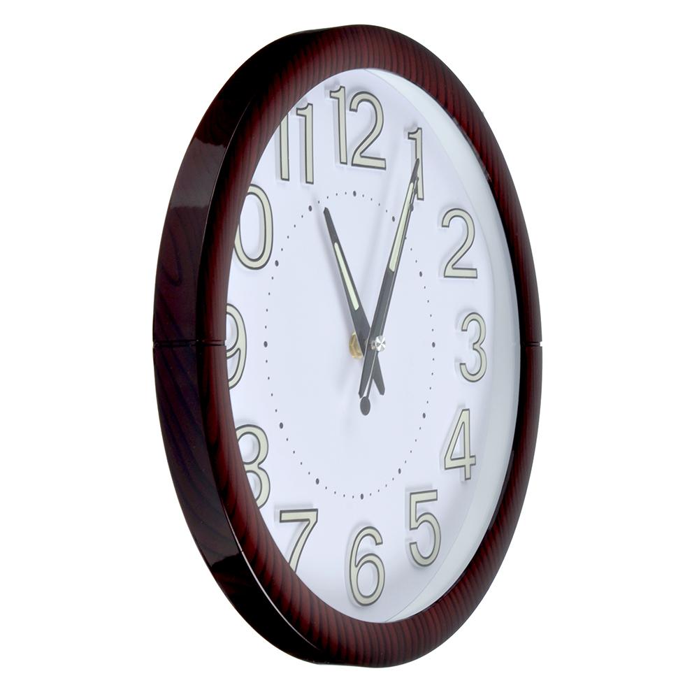 Часы настенные, 30 см, флуоресцентные цифры, пластик, 1хАА