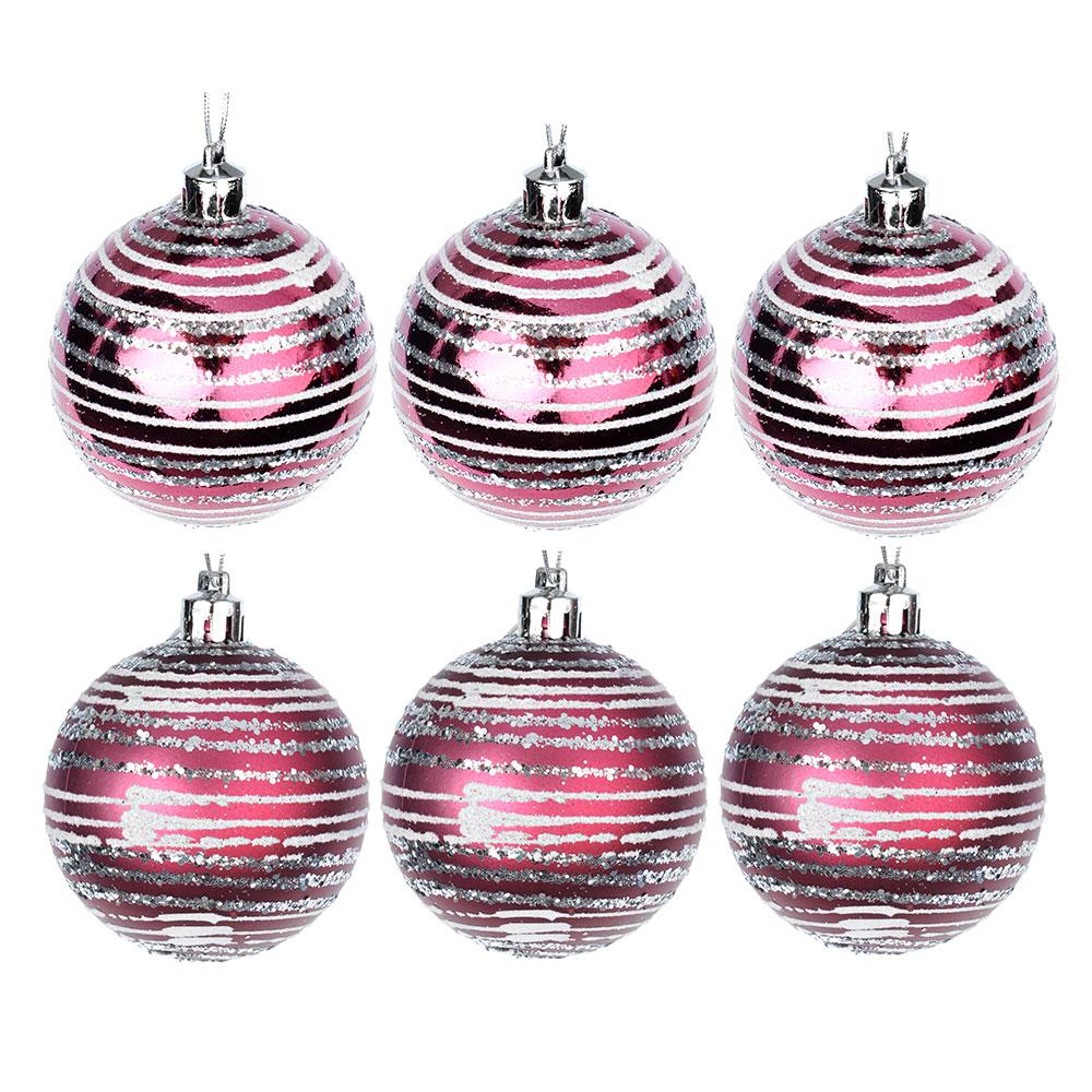 СНОУ БУМ Набор шаров с орнаментом 6шт, 6 см, пластик, пурпурный, подарочная упаковка, 2 вида