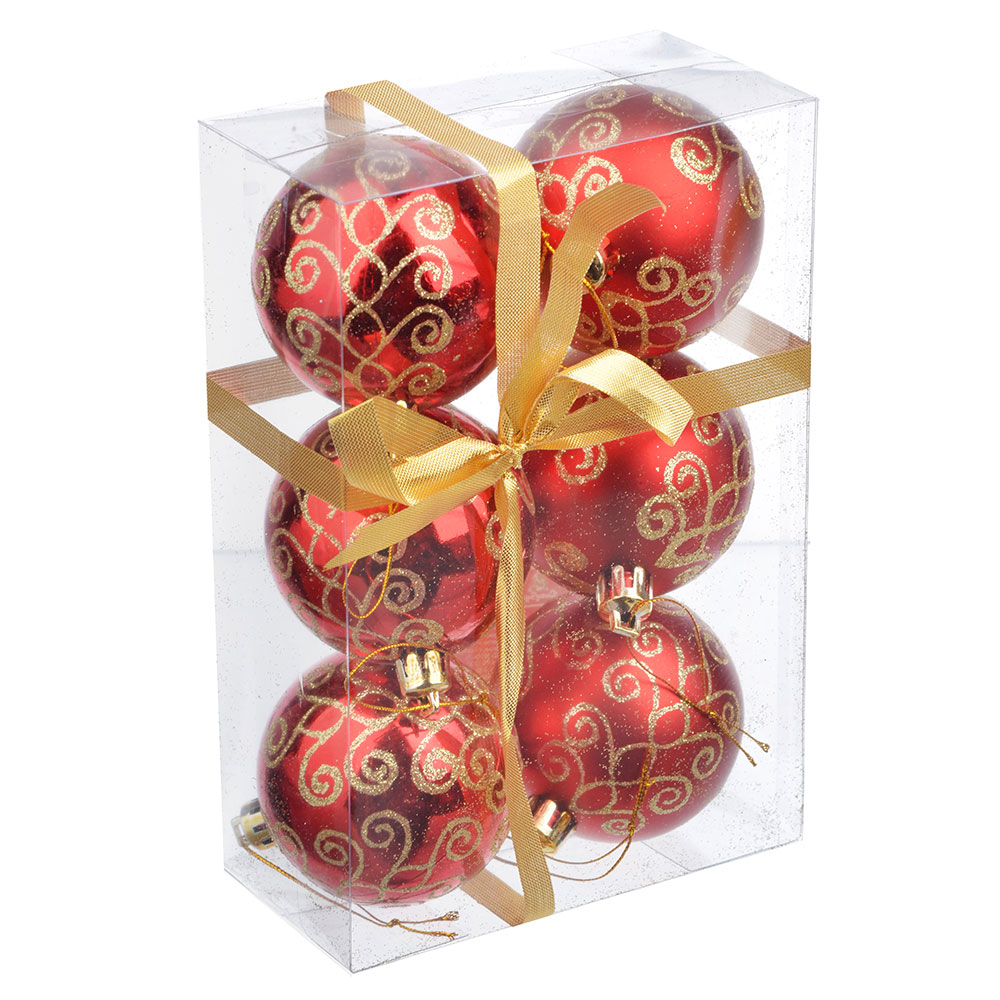 СНОУ БУМ Набор шаров с орнаментом 6шт, 6 см, пластик, красный, подарочная упаковка