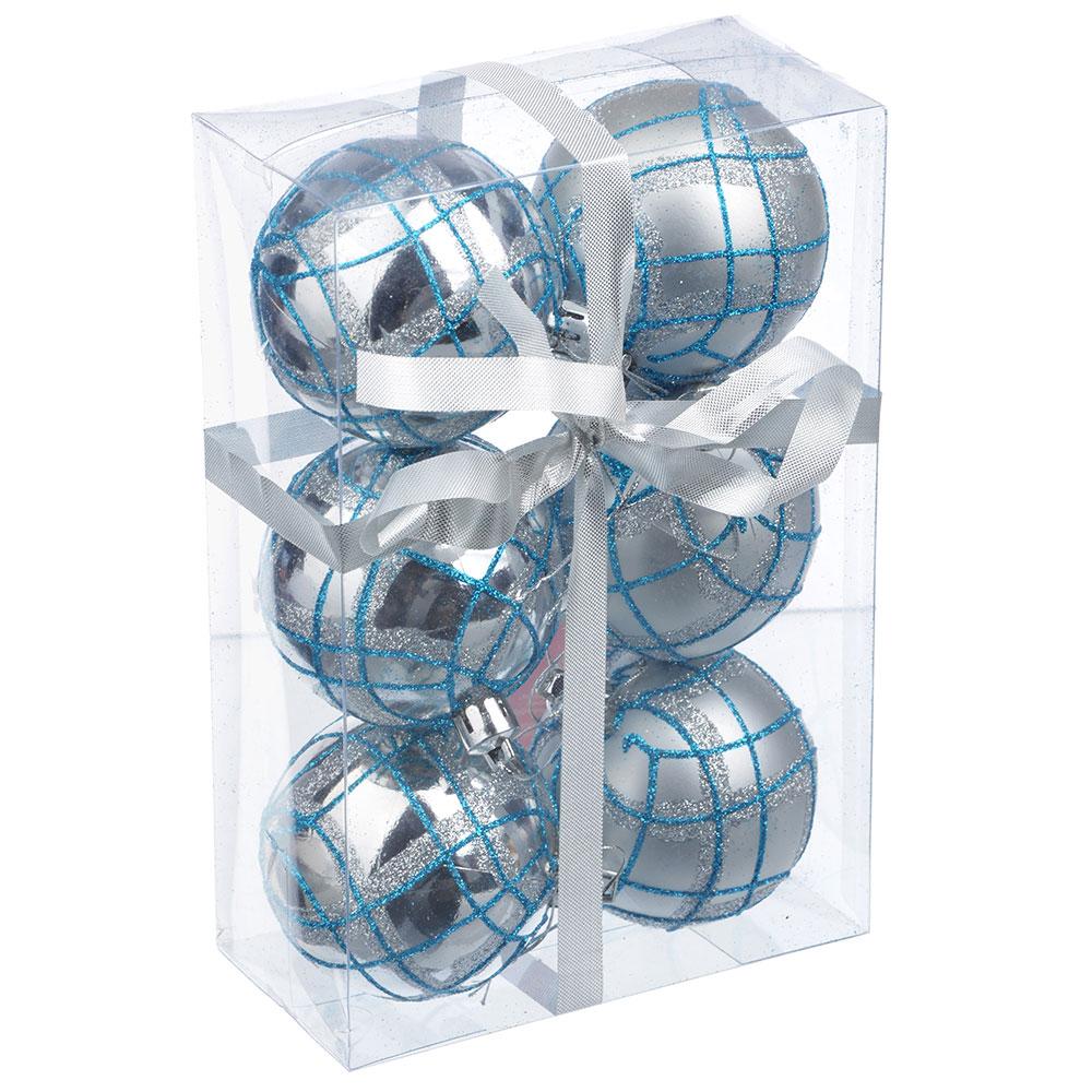 СНОУ БУМ Набор шаров с орнаментом 6шт, 6 см, пластик, серебро, подарочная упаковка, 4 вида