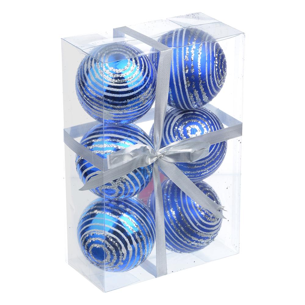 СНОУ БУМ Набор шаров с орнаментом 6шт, 6 см, пластик, синий, подарочная упаковка, 3 вида