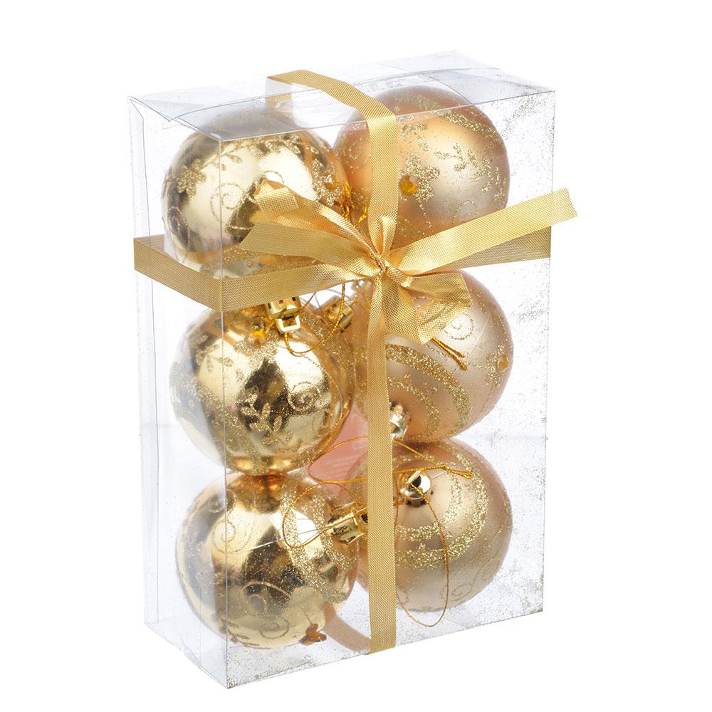 СНОУ БУМ Набор шаров с орнаментом 6шт, 6 см, пластик, золото, подарочная упаковка