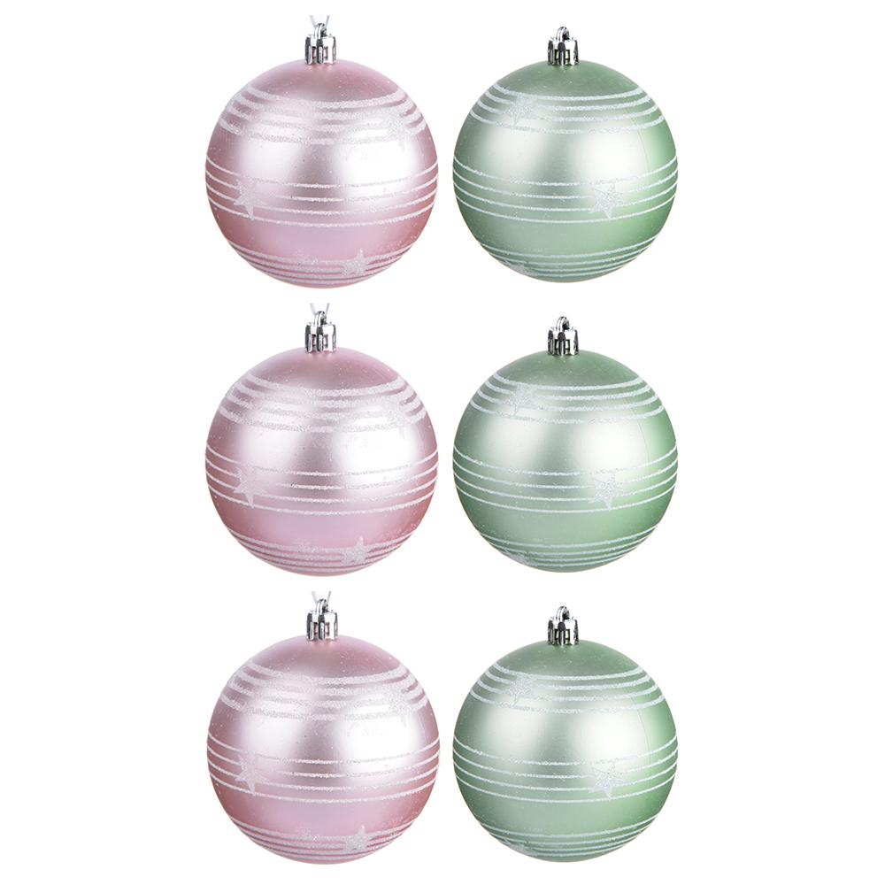 СНОУ БУМ Зефир Набор узорных шаров 6шт, 8см, пластик, розовый, мятный