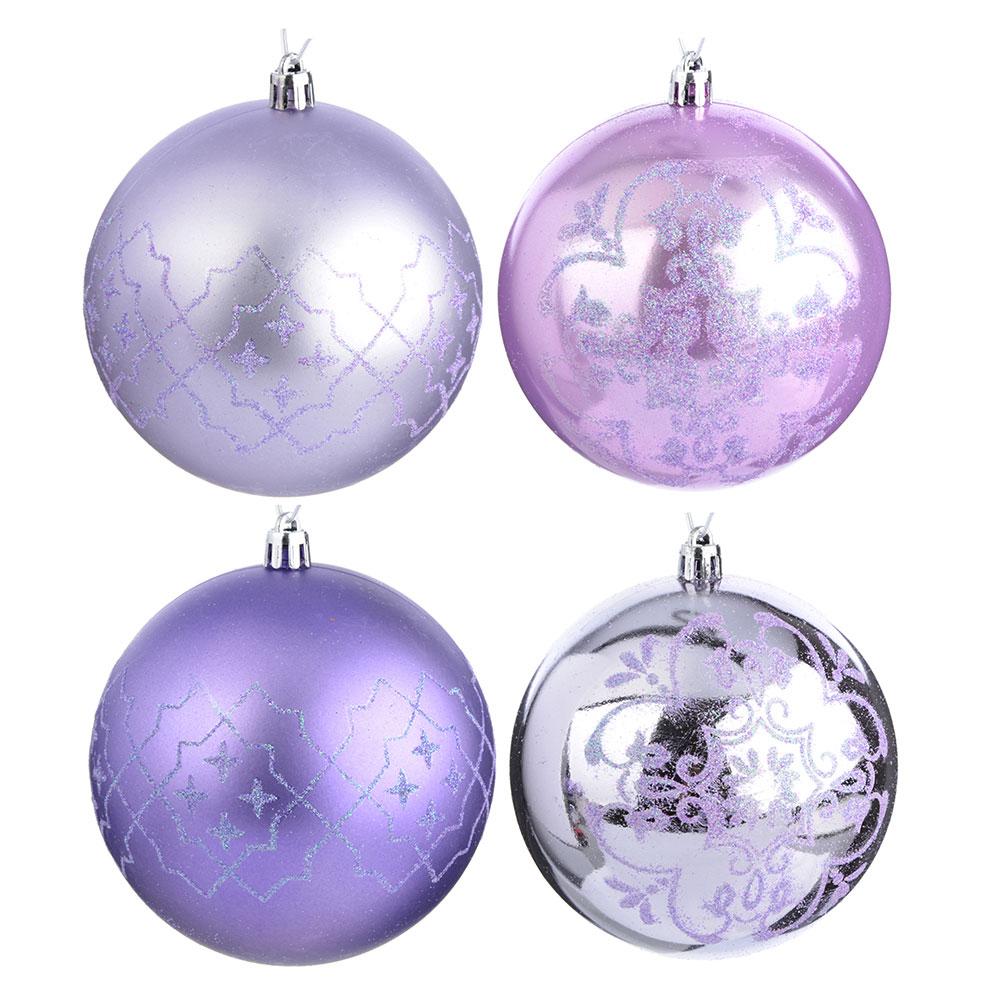 СНОУ БУМ Набор шаров 4шт, 10см, пластик, лиловый