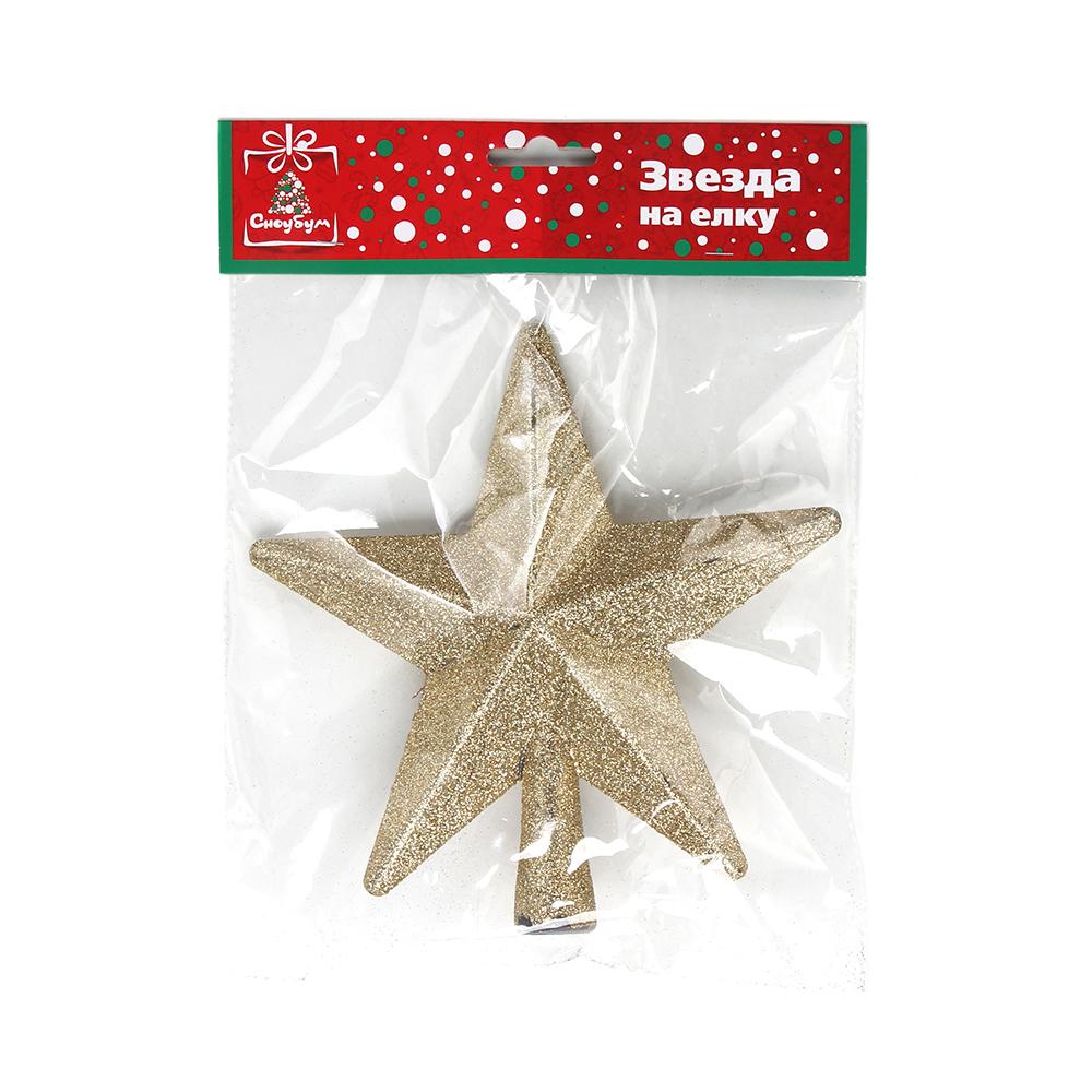 СНОУ БУМ Звезда на елку 20 см, пластик, красный, золото