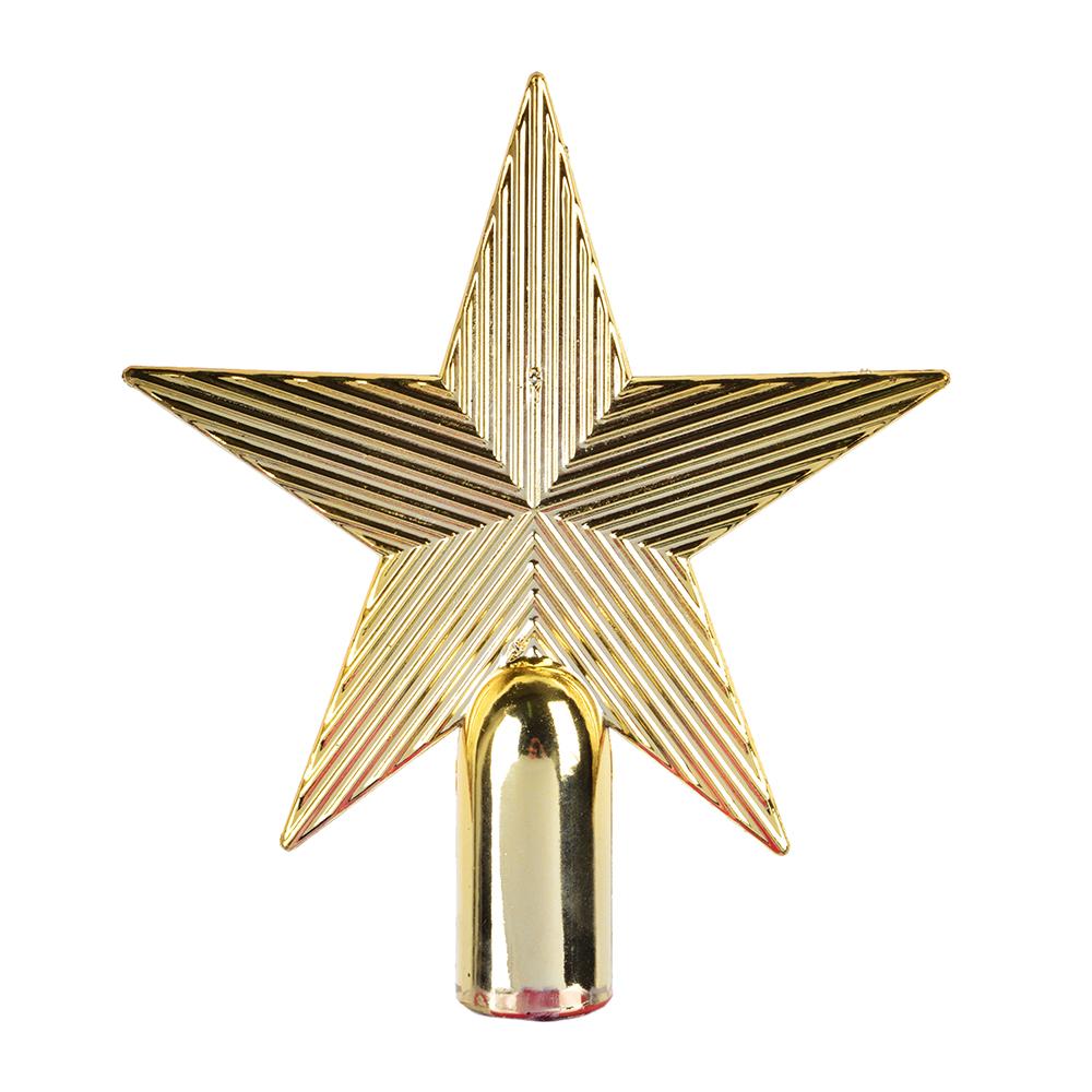 СНОУ БУМ Звезда на елку 13 см, пластик, красный, золото