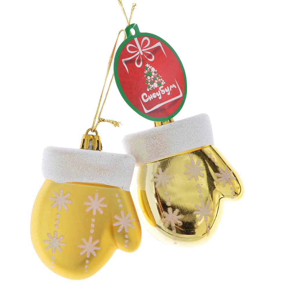 СНОУ БУМ Зефир Набор украшений 2шт, 8см, пластик, в виде рукавички, розовый, золото