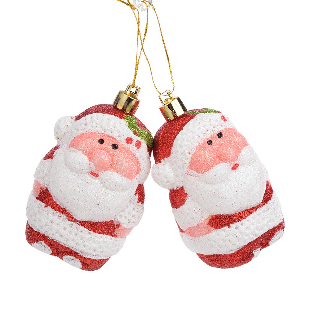 СНОУ БУМ Сказка Набор украшений в виде Деда Мороза 2шт, 6см, пластик, красный, золото
