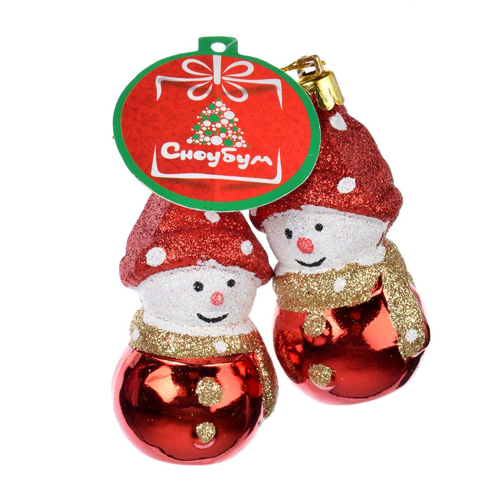 СНОУ БУМ Сказка Набор украшений 2шт, 7см, пластик, в виде снеговичка, красный, золото