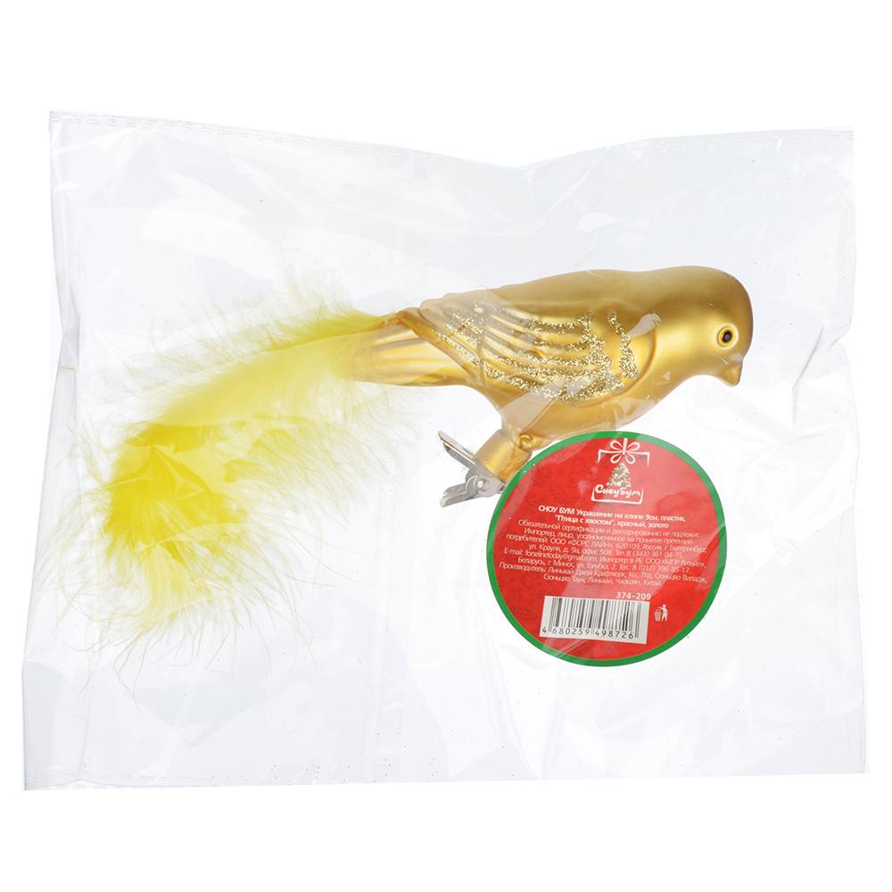 """СНОУ БУМ Украшение на клипе 9см, пластик, """"Птица с хвостом"""", красный, золото"""