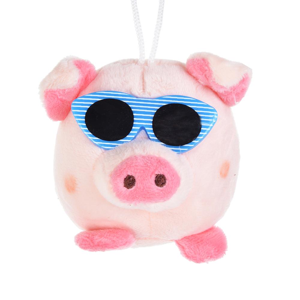 СНОУ БУМ Подвеска мягкая в виде свинки, полиэстер,  7,5 см, 4 цвета