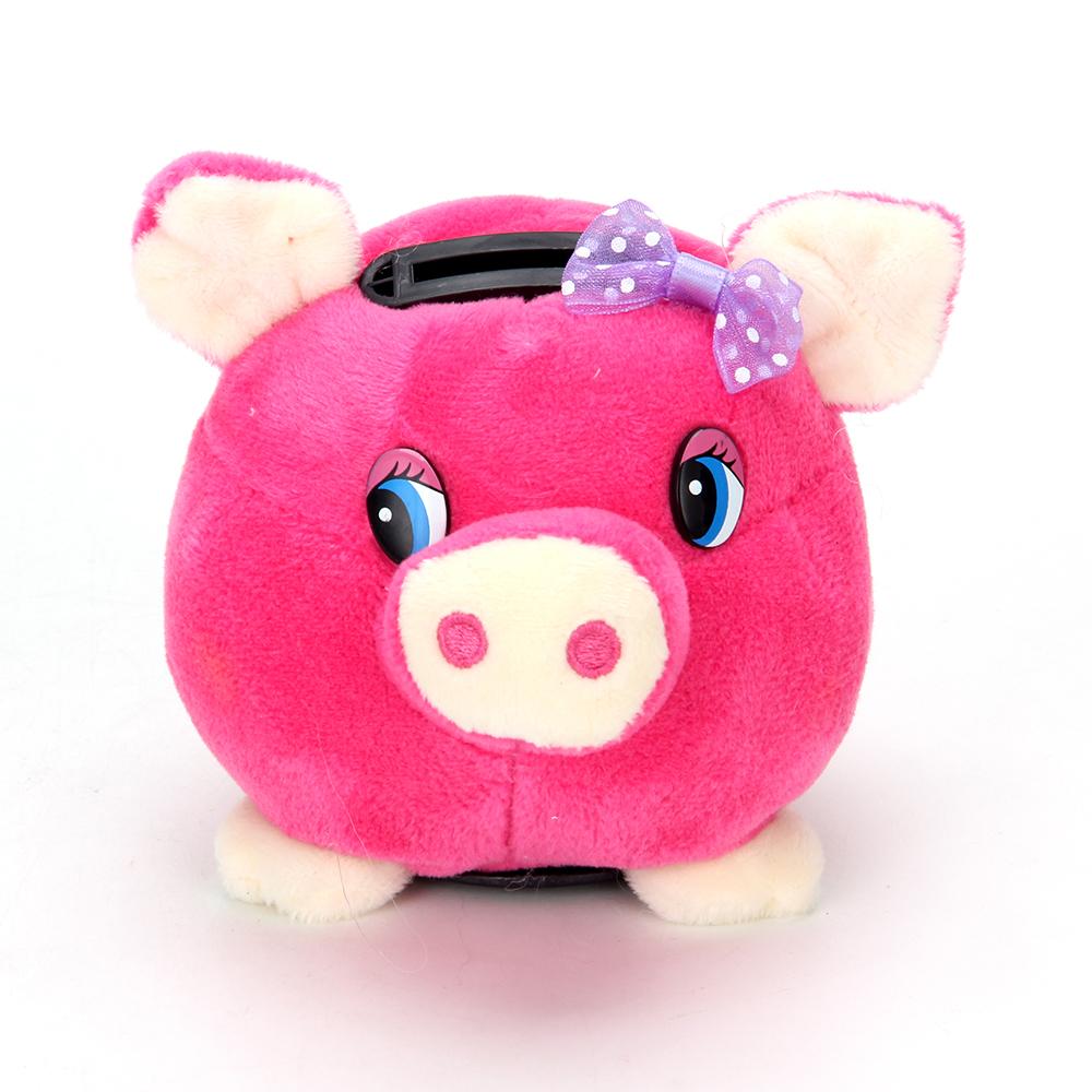 СНОУ БУМ Копилка мягкая подсветкой с музыкой в виде свинки, полиэстер, пластик, 9,5 см,  6 цветов,