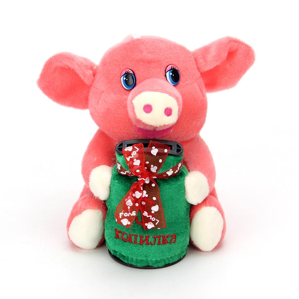 СНОУ БУМ Копилка мягкая с музыкой в виде свинки, полиэстер, пластик, 14,5 см,  4 цвета