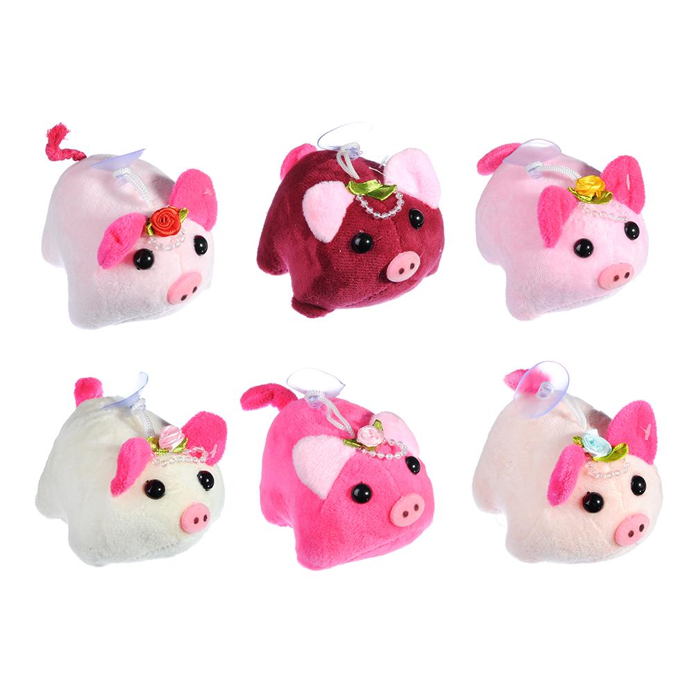 СНОУ БУМ Игрушка мягкая в виде свинки, полиэстер, 10см, 6 цветов