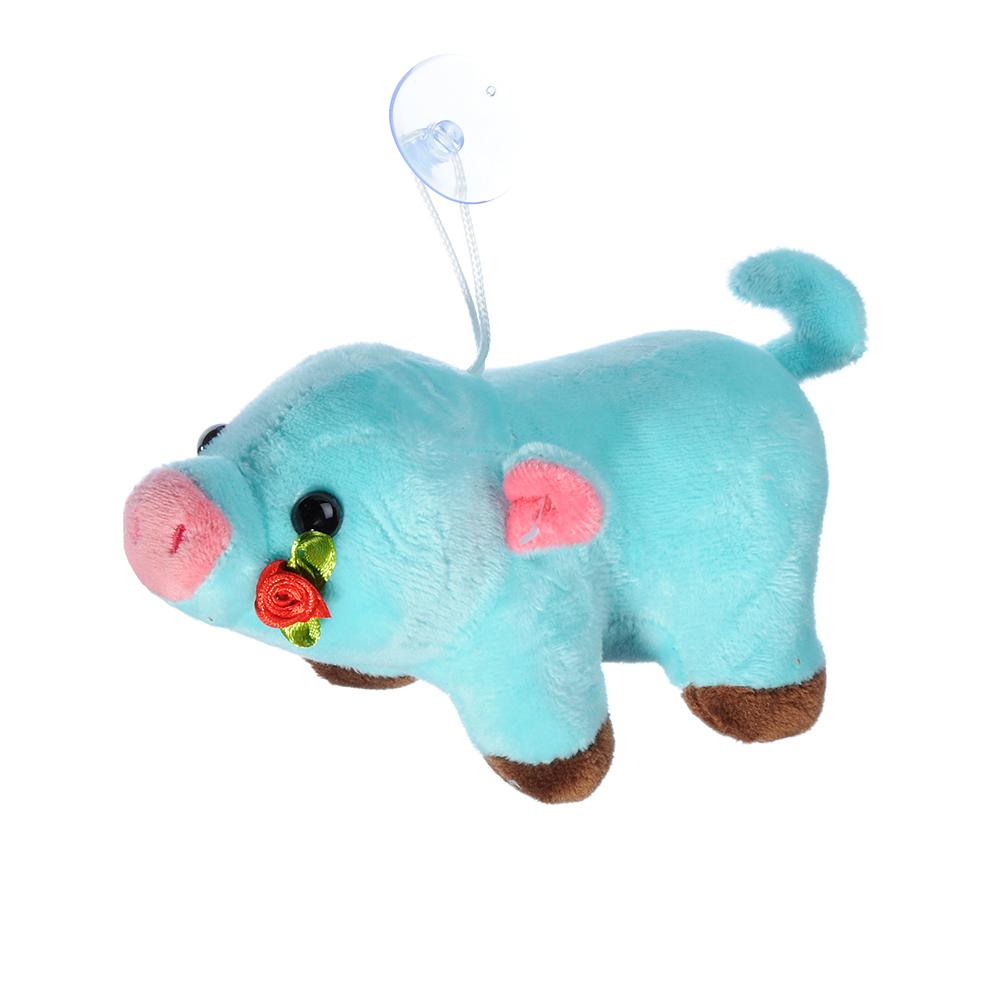 СНОУ БУМ Игрушка мягкая в виде свинки, полиэстер, 15 см, 6 цветов