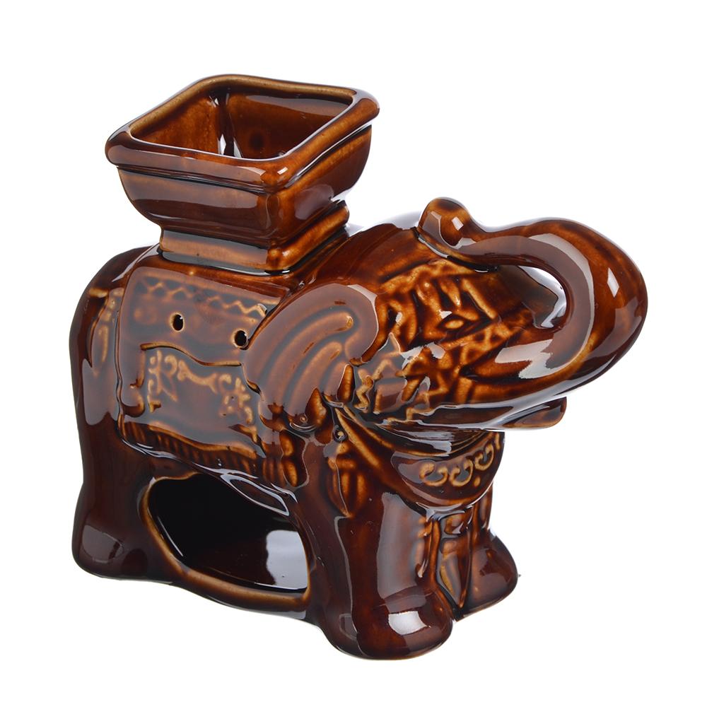 Аромалампа керамическая, Слон коричневый, керамика, 18,5x14,5x8,5 см