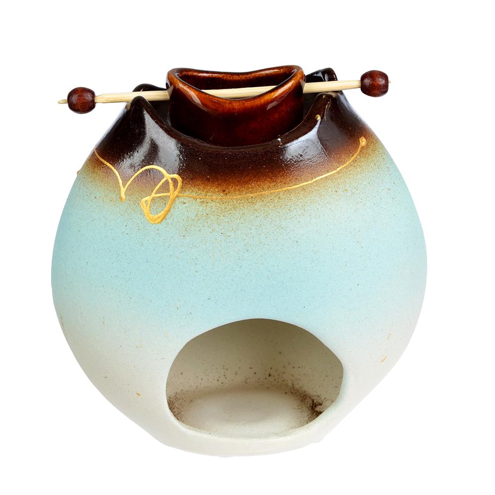 Аромалампа керамическая, Котелок, керамика, 11x11x5,5 см, голубой, коричневый