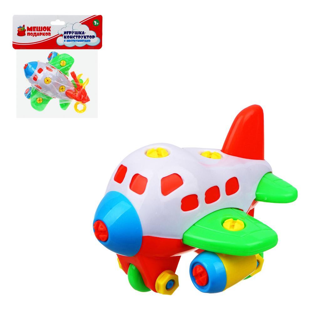 МЕШОК ПОДАРКОВ Игрушка-конструктор с инструментами, крупные детали, пластик, 22х8х13,5/18см, 4 диз.