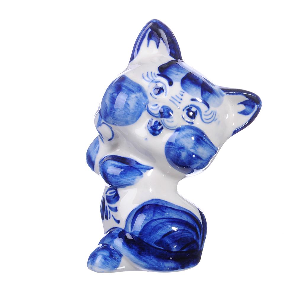 Фигурка в виде котенка, Гжельский фарфор, 12,5х7х6,5см