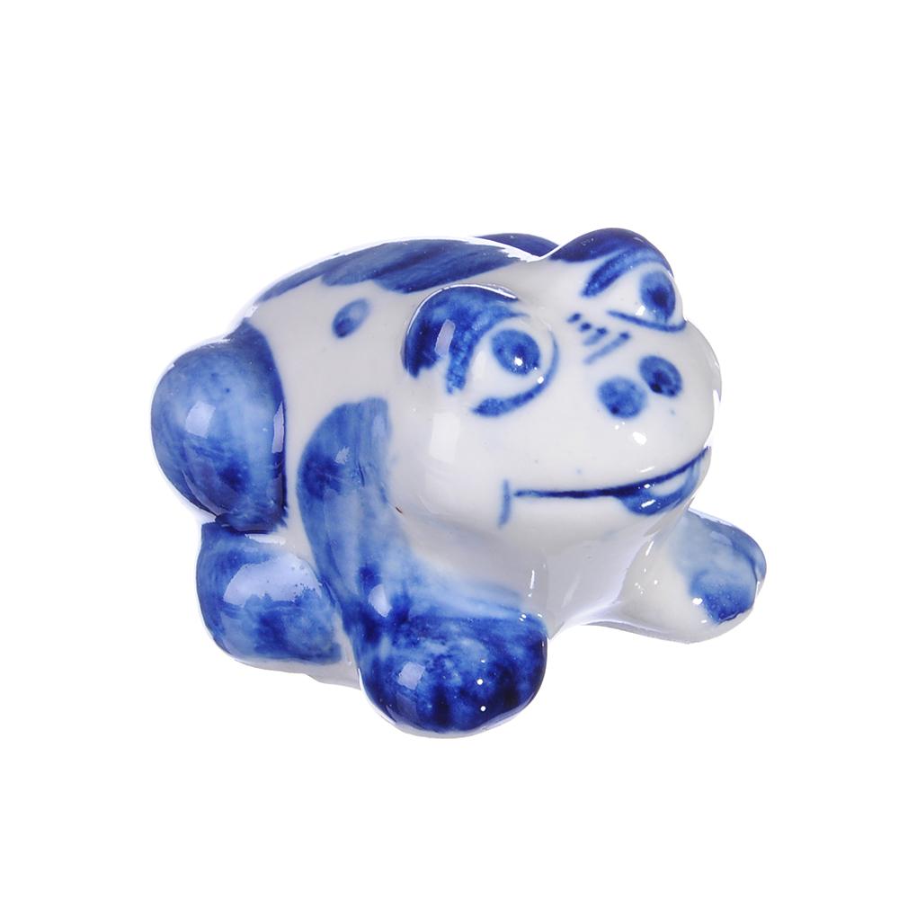 Фигурка в виде лягушки, Гжельский фарфор, 4x4,5x5,5см