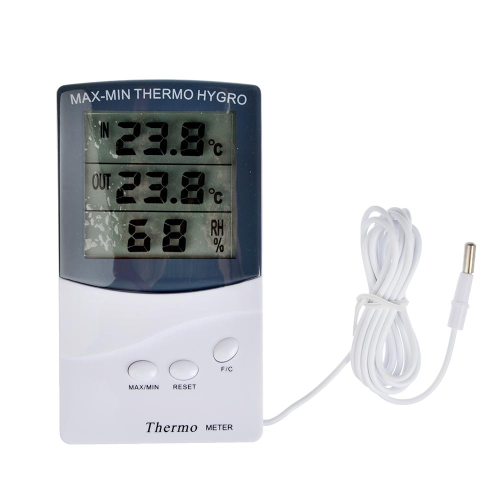 INBLOOM Термометр электронный, выносной датчик температуры, влажность,12.5x7см, пластик,1xAAA