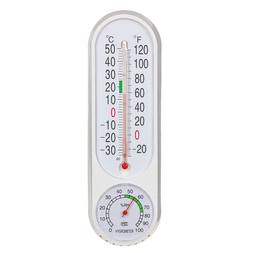 INBLOOM Термометр вертикальный, измерение влажности воздуха, 23x7см, пластик, блистер