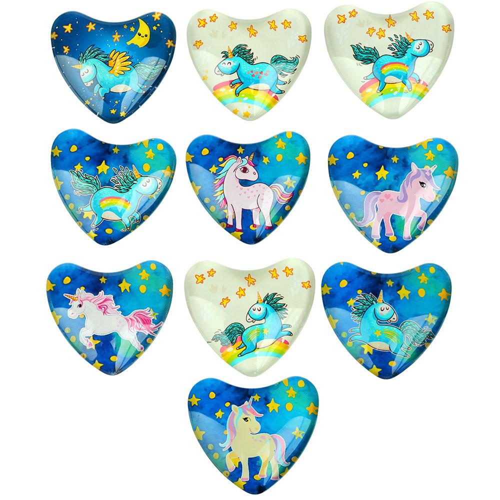 Магнит стеклянный с единорогами в форме сердца, 5х4,5см, 14 дизайнов