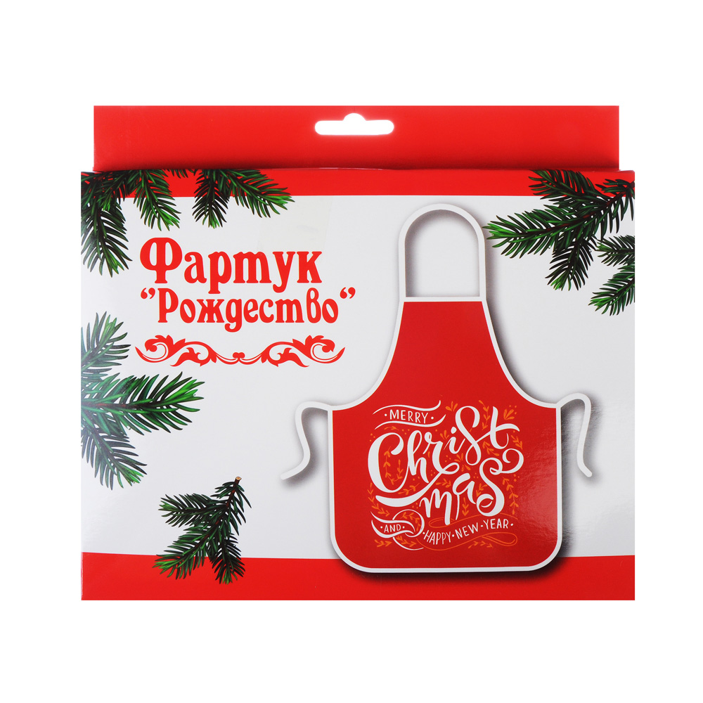 "Фартук в коробке ""Рождество"", 51x76см, полиэстер 100%, GC"