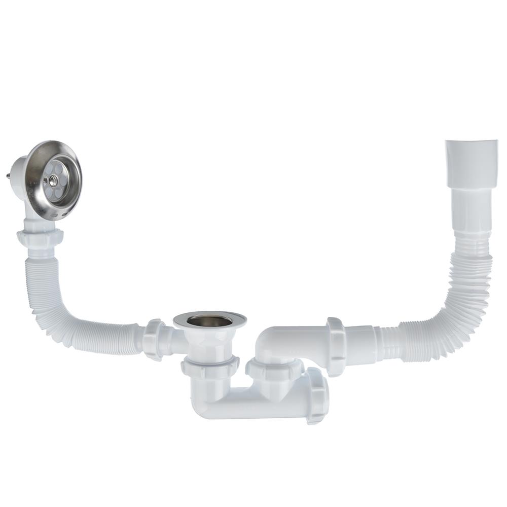 Сифон для ванны регулируемый с выпуском и переливом, с гибкой трубой 40х40/50 см, Aquant V256