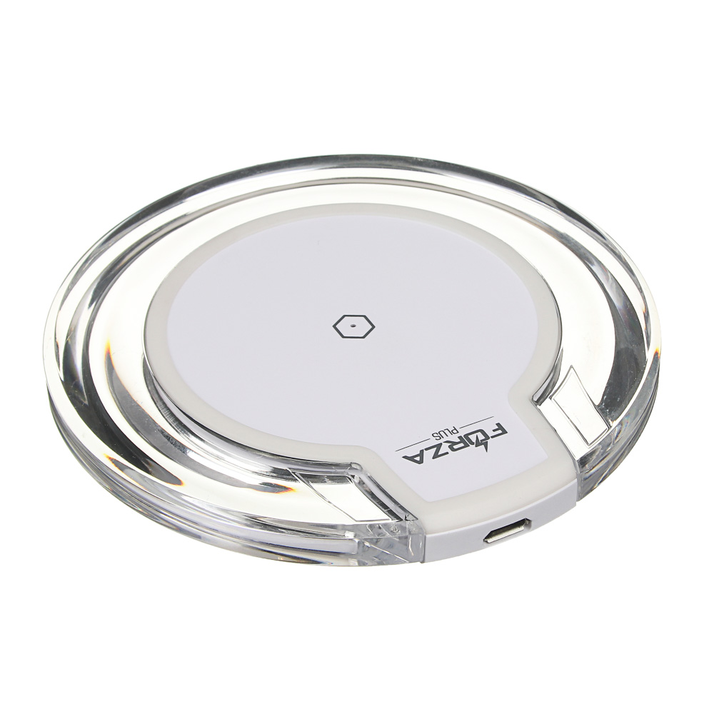 Зарядное устройство FORZA Беспроводное, D10см, вход Micro USB, прозрачный пластик