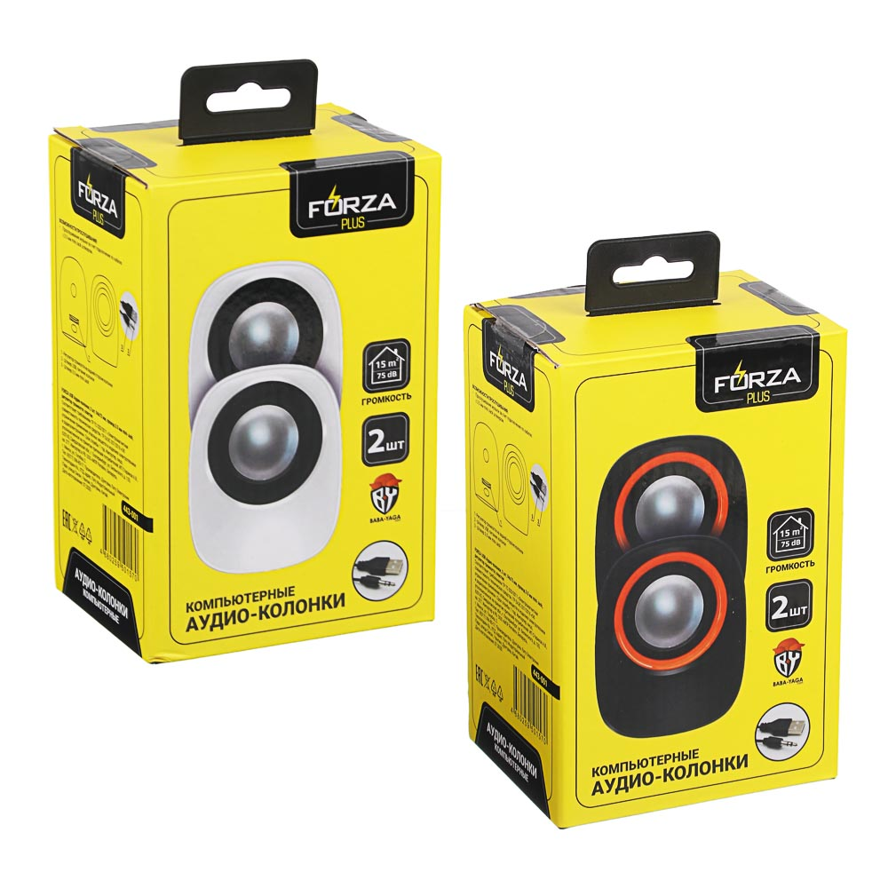 FORZA USB аудио-колонки, 2 шт, квадратные, 7x7см, провод 65см, 3.5мм Jack