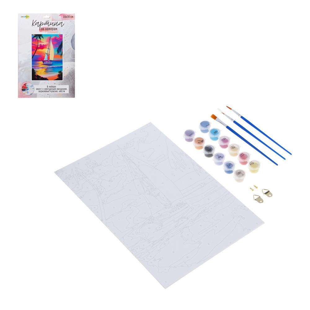 ХОББИХИТ Картина по номерам, комплект (основа, акриловые краски, кисть), 20х30см, 10 дизайнов