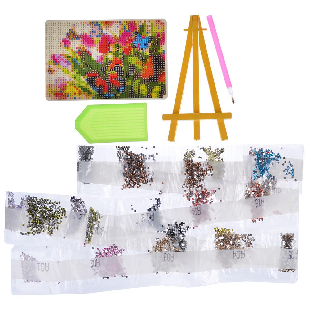 ХОББИХИТ Картина из страз, комплект (стразы, палочка, основа, мольберт), 10х15см, 10 дизайнов