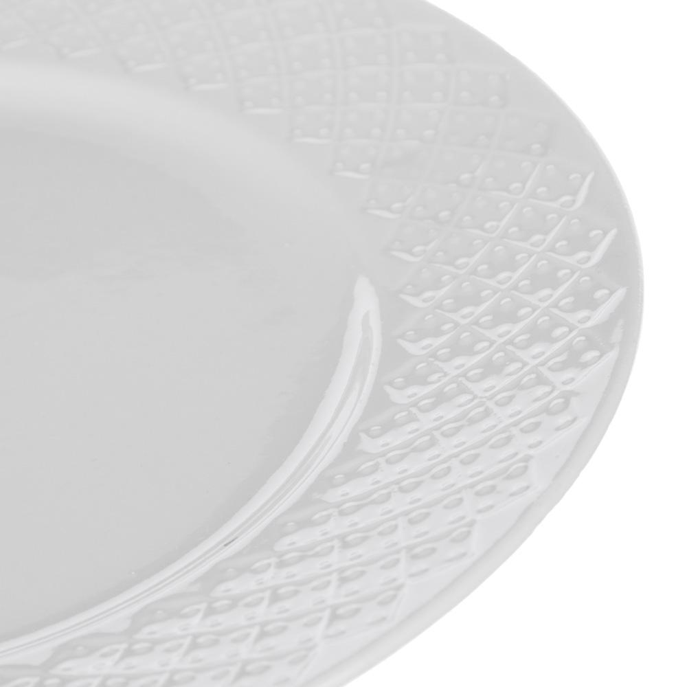 "Тарелка фарфоровая десертная, 20 см, рельеф, MILLIMI ""Жемчуг"""