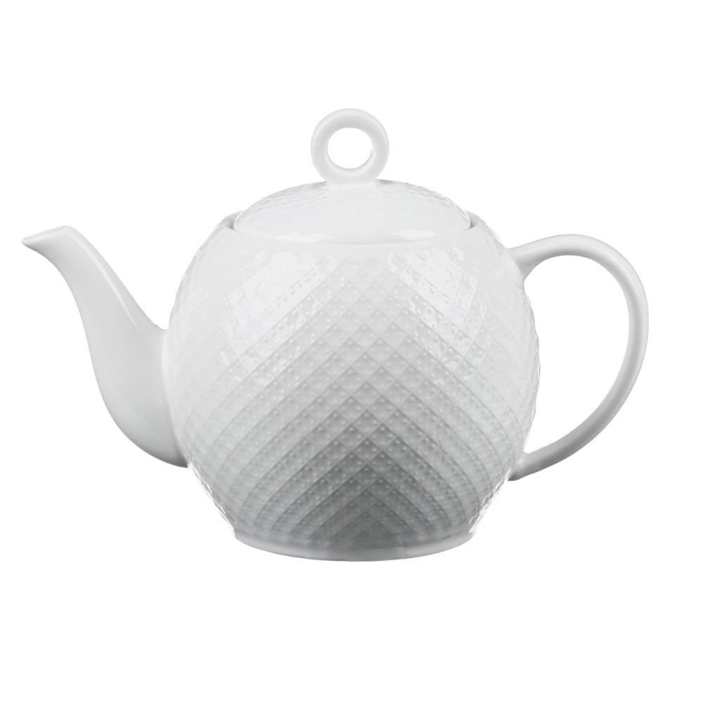 """Чайник заварочный фарфоровый, 1200  мл, рельеф, MILLIMI """"Жемчуг"""""""