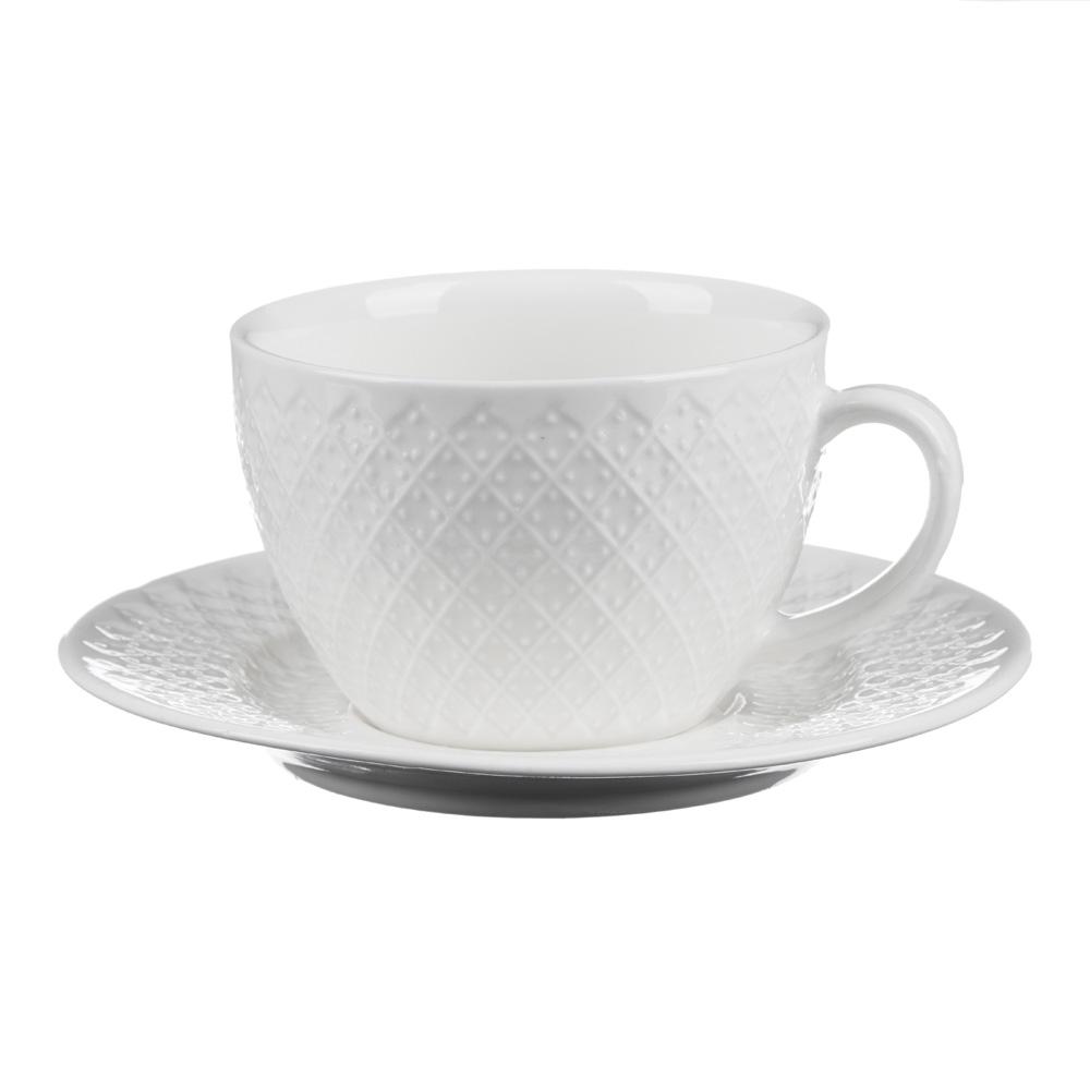 """Чайная пара: чашка 215 мл, блюдце 14,5 см, фарфор, рельеф, MILLIMI """"Жемчуг"""""""