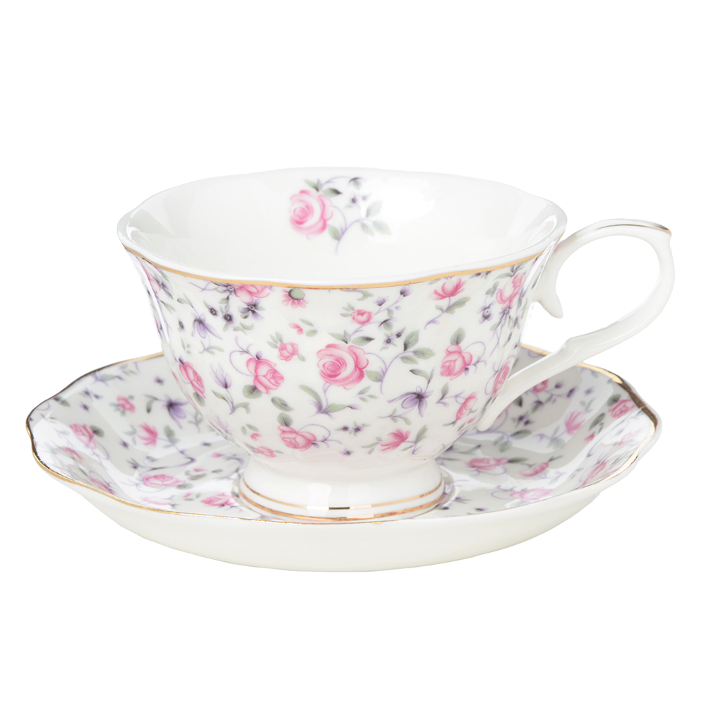 """Чайный сервиз 2 предмета: чашка 250 мл, блюдце 15 см, костяной фарфор, MILLIMI """"Пастораль"""""""