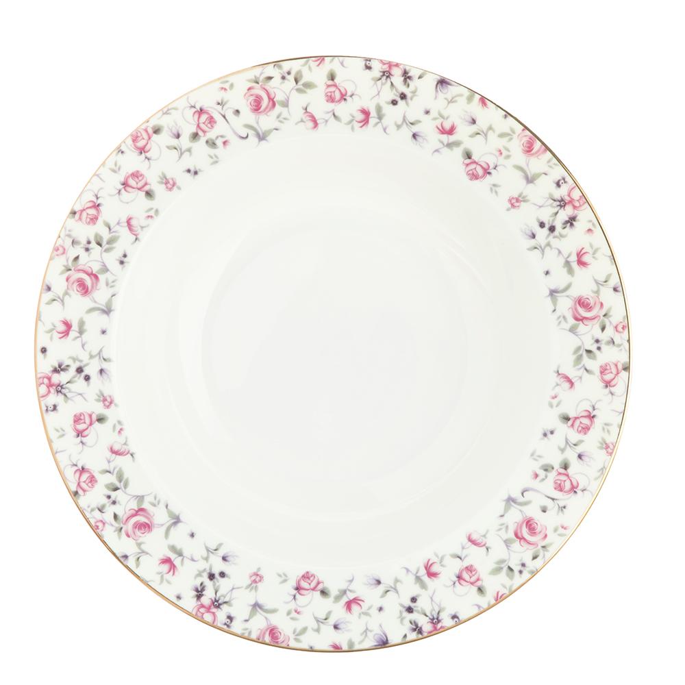 "Тарелка суповая, костяной фарфор, 21,5х4,5 см, MILLIMI ""Пастораль"""