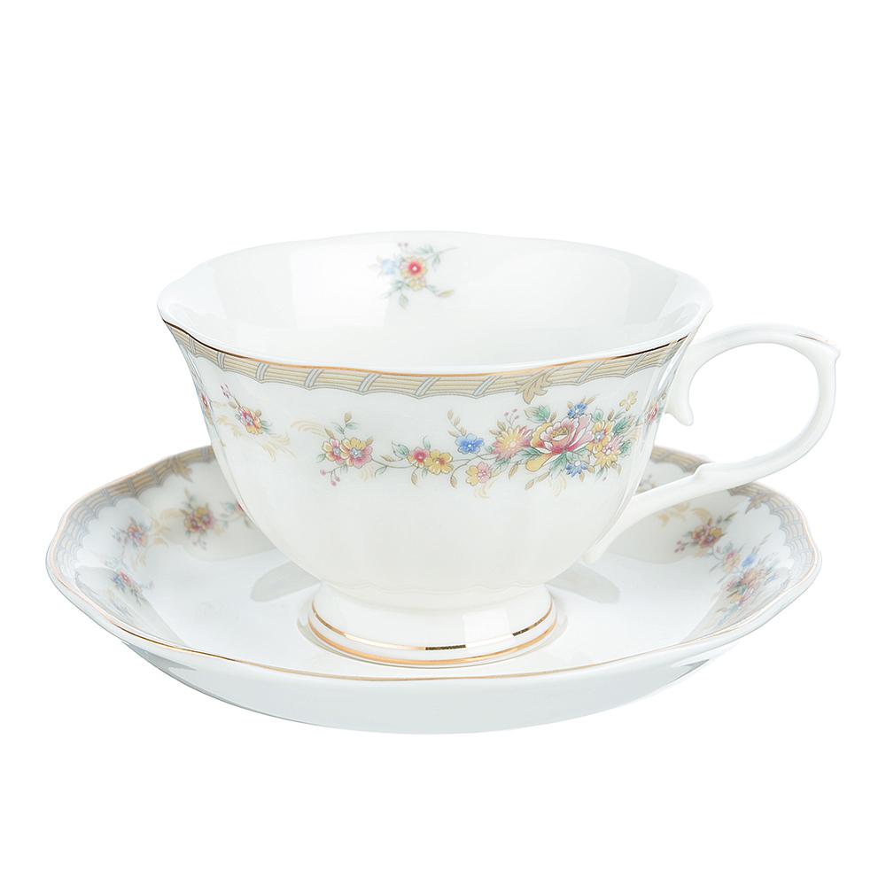 """Чайный сервиз 2 предмета: чашка 250 мл, блюдце 15 см, костяной фарфор, MILLIMI """"Версаль"""""""