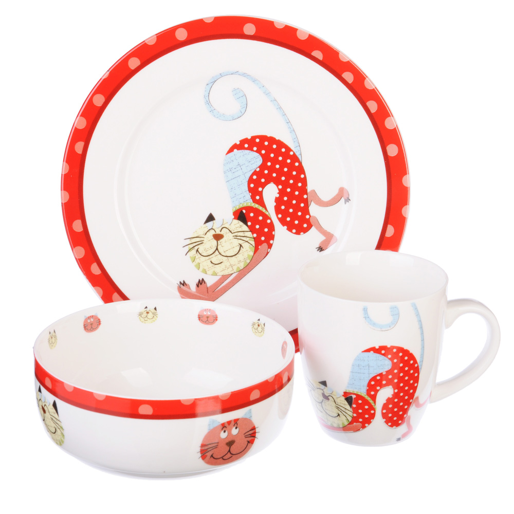 Набор детской посуды: тарелка 18 см, суповая тарелка 12,5х5,5 см, кружка 215 мл, костяной фарфор, MI