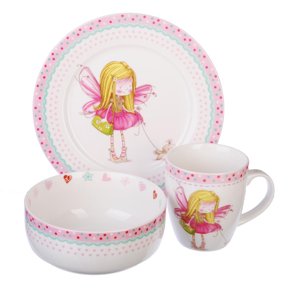Набор детской посуды: тарелка 18 см, суповая тарелка 12,5х5,5 см,кружка 215 мл, костяной фарфор, MIL