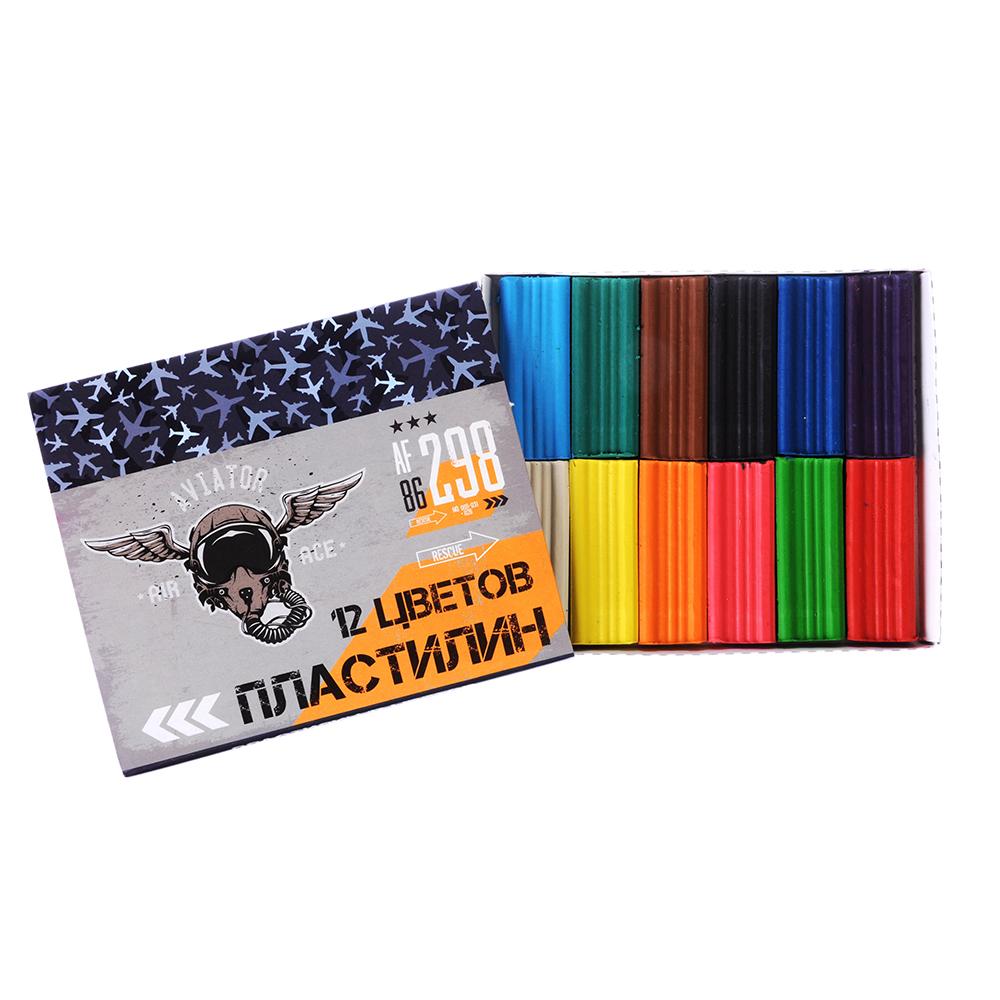 Авиатор Пластилин 12 цветов 240 грамм в картонном выдвижном пенале, восковая основа