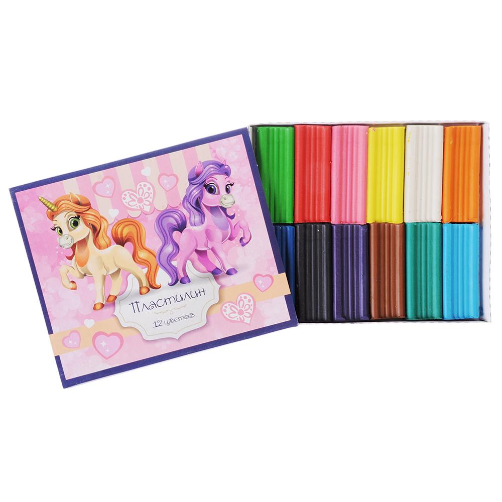 Лошадки Пластилин 12 цветов 240 грамм в картонном выдвижном пенале, восковая основа