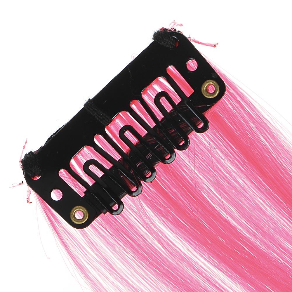 Цветные пряди волос на гребне, длина 35-40 см, ПВХ, 6 цветов