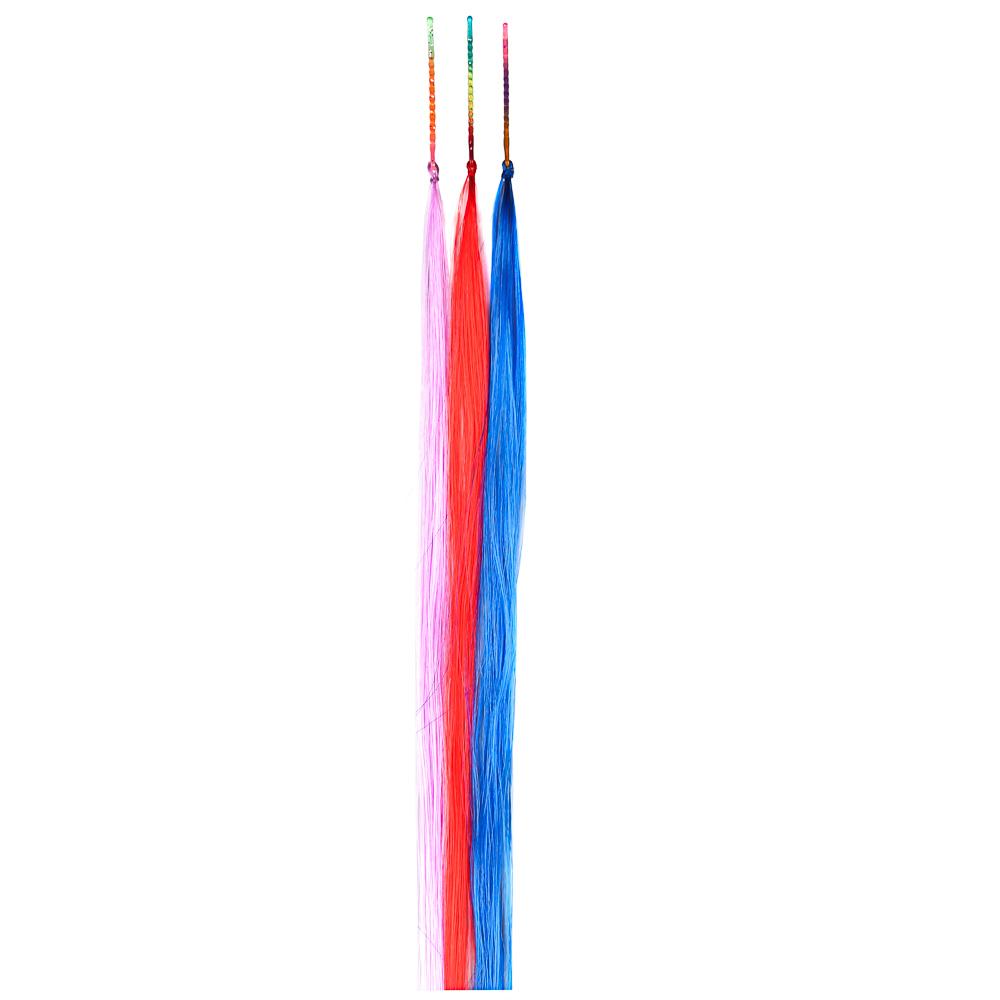 Цветные пряди волос на невидимках, длина 25-28 см, ПВХ, 3 цвета