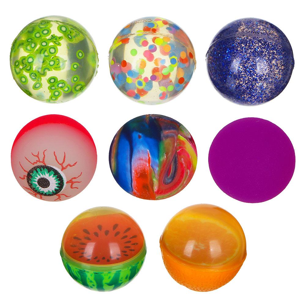 Мячик каучуковый Попрыгун, цветной, каучук, d-45мм, 4-8 дизайнов