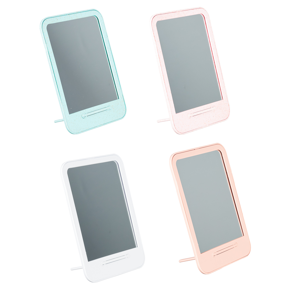 Зеркало настольное, 14х19,6 см, стекло, пластик, 4 цвета