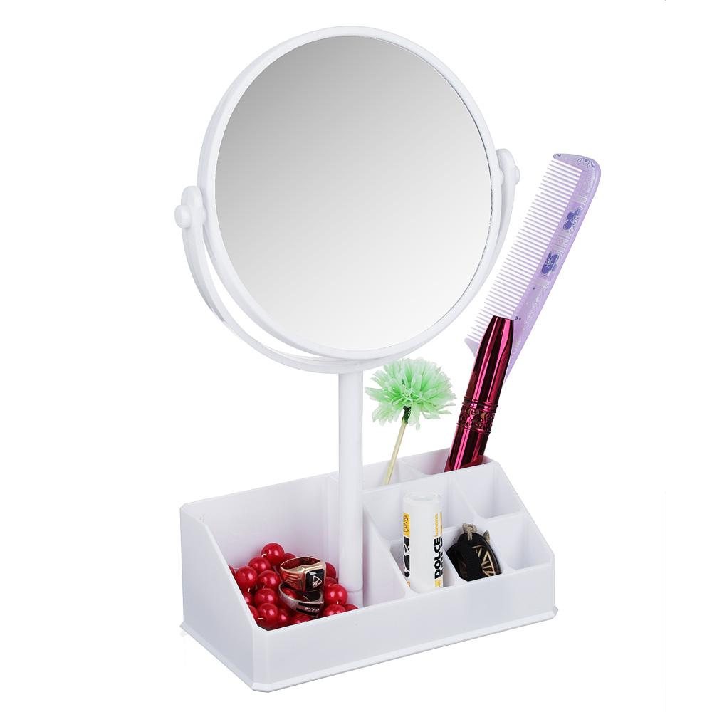 Зеркало-органайзер для косметики, d. 15см, 26,5х17см, пластик, стекло, белый