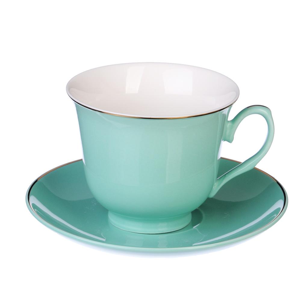 """Чайный сервиз 2 предмета, костяной фарфор, 250 мл, бирюзовый, MILLIMI """"Пастель"""""""