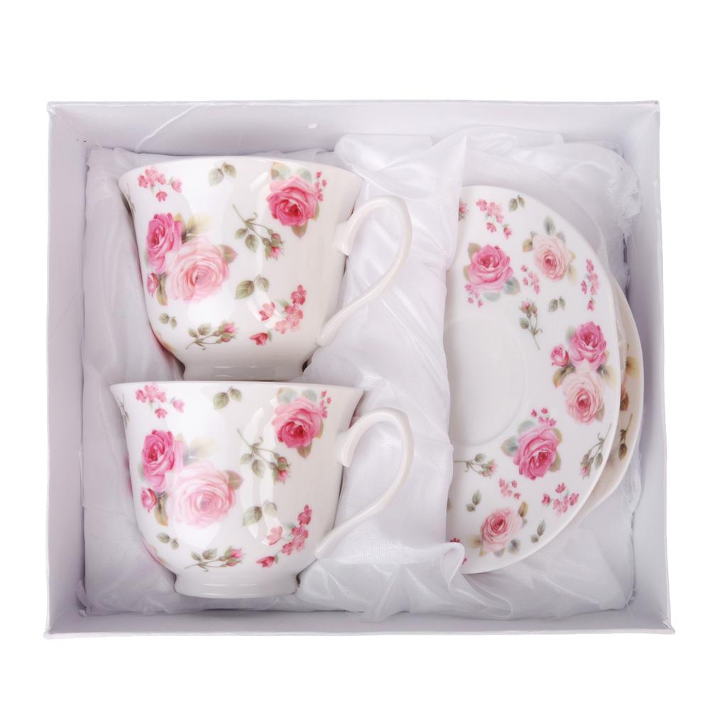 """Чайный сервиз 4 предмета, костяной фарфор, 250 мл, MILLIMI """"Роза"""""""